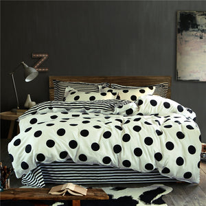 Bedding -3-4 pcs Quilt Cover Set 100% Cotton-Polka Dots and Strips pattern (B-112)