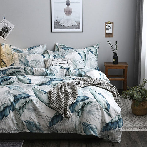 Bedding - 3/4 pcs Leaves Pattern Bedding set (B-130)