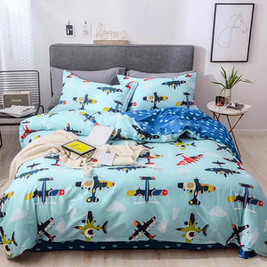 Bedding - 100% Cotton  Airplane Pattern Bedding set (B-134)