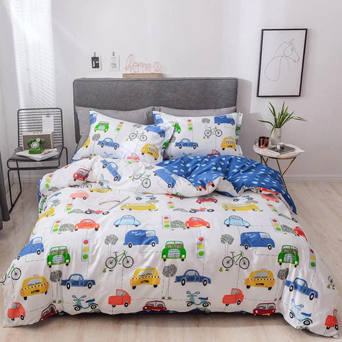Bedding - 100% Cotton  Cars Pattern Bedding set (B-136)