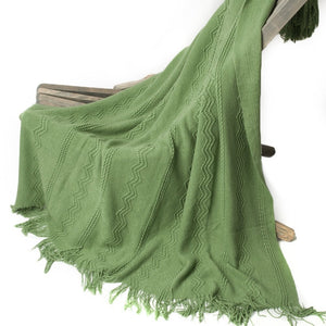 Green throw Raised Patterns and Tassels blanket  (B-143)