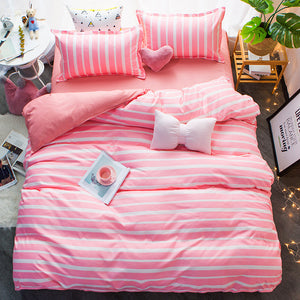 Bedding - Pink Stripes Bedding set (B-18)