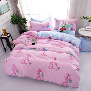 Bedding- 4 pcs Pink Panther bedding set  (B-39)