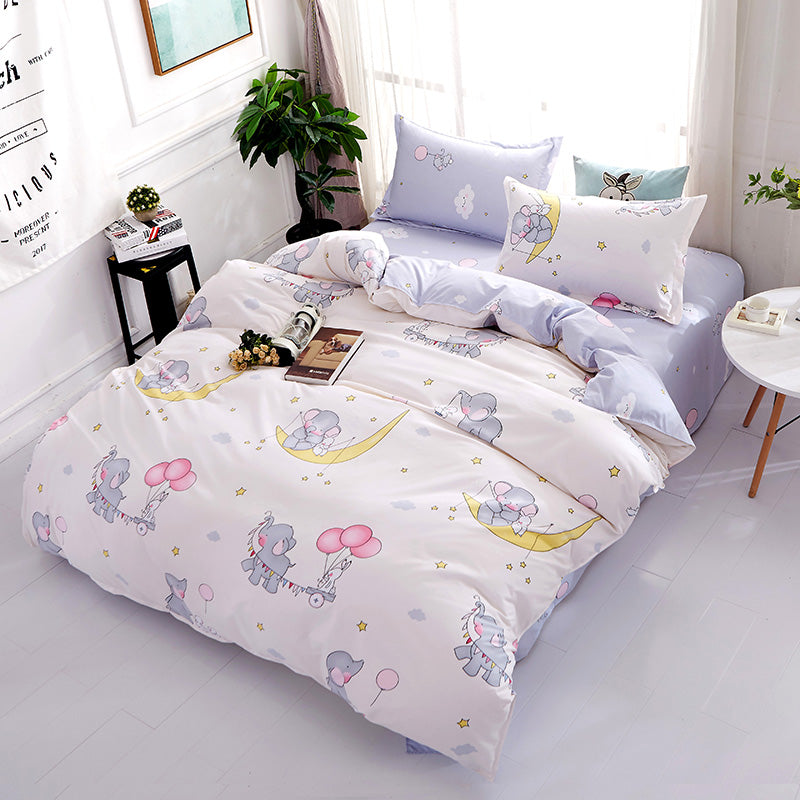 Bedding- 4 pcs Cute Elephants bedding set  (B-40)