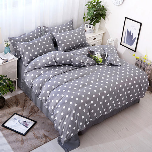 Bedding- 4 pcs Gray Polka Dots bedding set  (B-44)