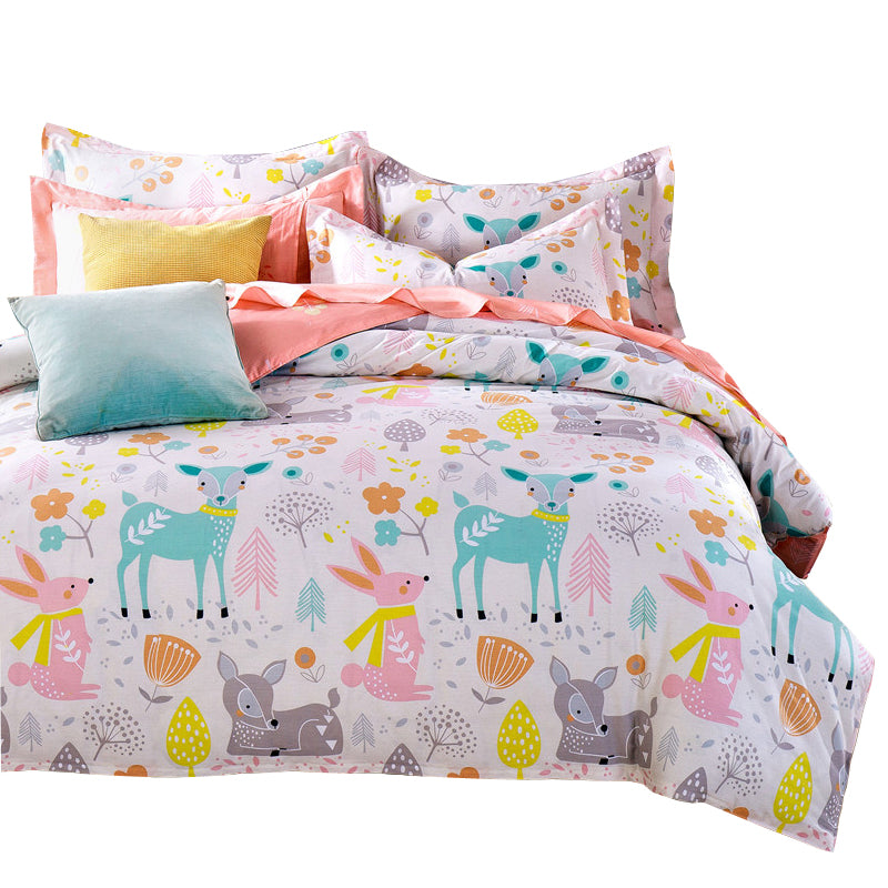 Bedding - 3/5 pcs Quilt Cover Set 100% Cotton-  Deer / Bunnies pattern (B-46)