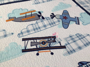 Bedding -2pc Airplane comforter blanket Set (B-49)