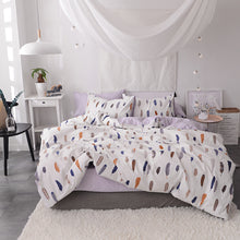 Bedding -Double sided Quilt Cover Set 100% Cotton- Feather pattern (B-51)