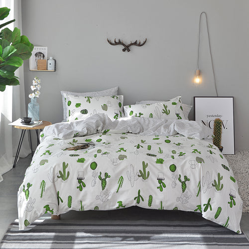 Bedding -Double sided Quilt Cover Set 100% Cotton- Cactus pattern (B-53)