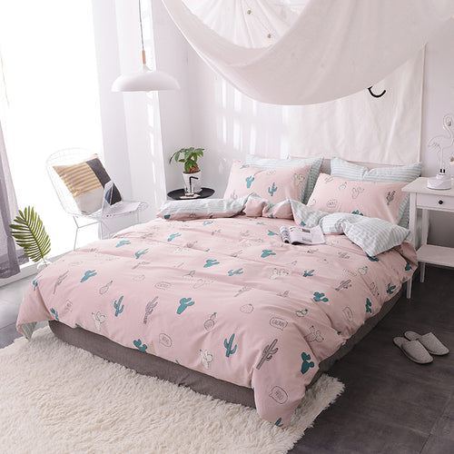 Bedding -Double sided Quilt Cover Set 100% Cotton- Cactus on Pink  (B-60)