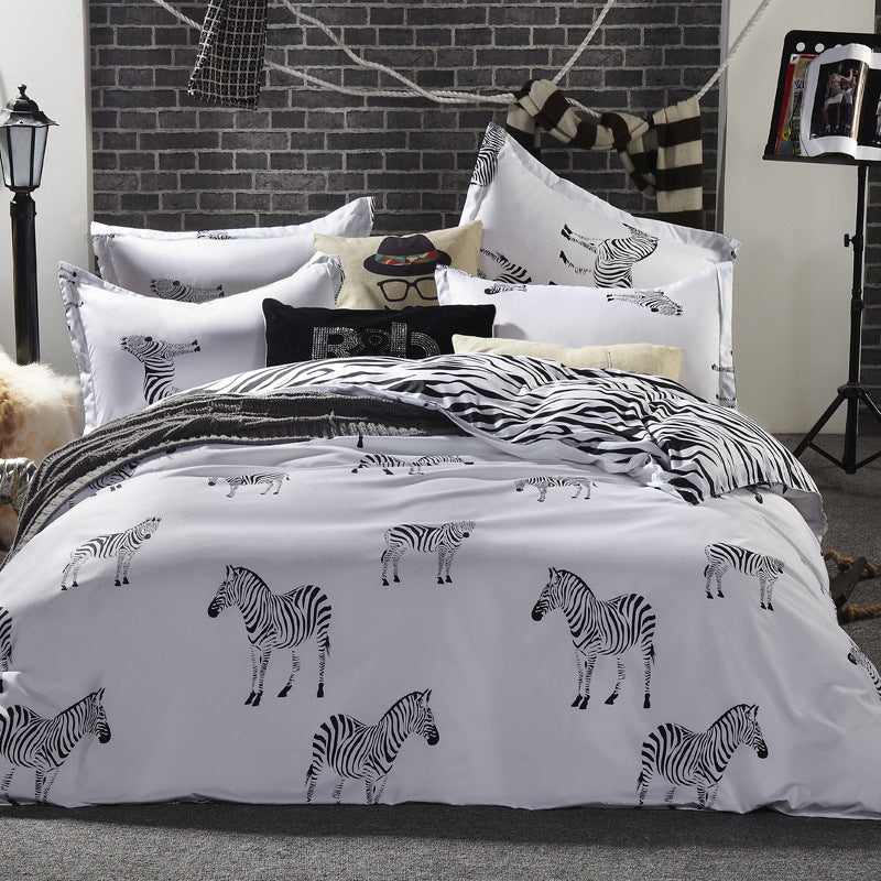 Bedding -4 pcs Quilt Cover Set 90% Cotton- Zebra pattern (B-68)