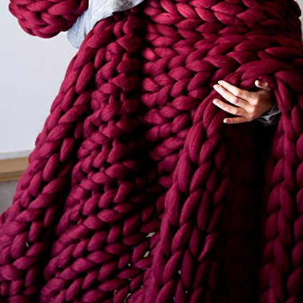 Chunky Knit Throw Blanket - Burgundy/ wine  (B-83)