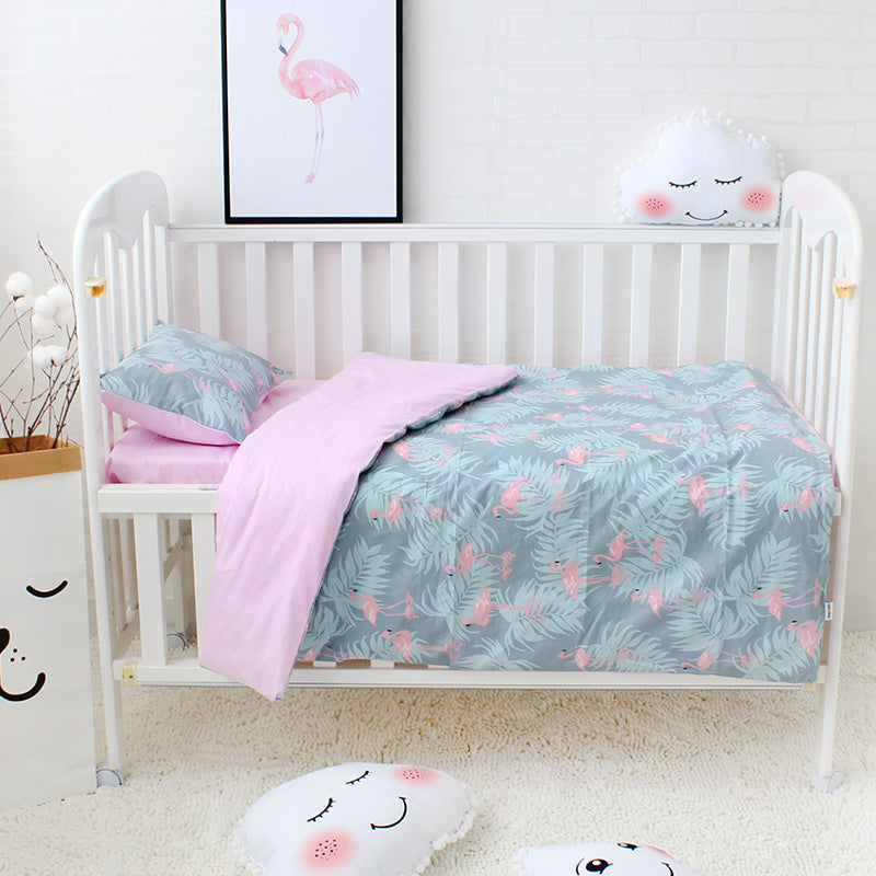 Baby 3pcs cot bedding  - Flamingo (B-89)