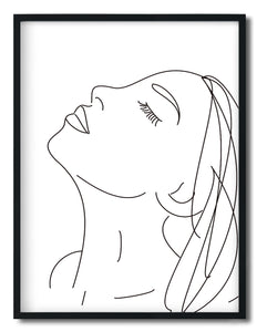 Wall Art - Woman Power - Minimalist Black&White Line drawing print - Framed / unframed art print (A-796)