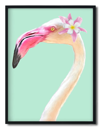 Wall Art -  Angela-Floral Flamingo - Framed / unframed art print (A-780)