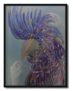 Wall Art - Woman and  Rainbow Tones Cockatoo - Framed / unframed art print (A-814)