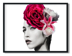 Wall Art -  Aria - Woman & Floral Headdress  - Framed / unframed art print (A-770)