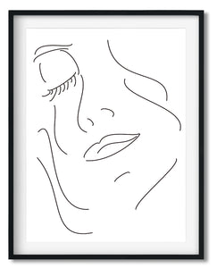 Wall Art - Minimalist Black&White Line drawing print - Framed / unframed art print (A-794)