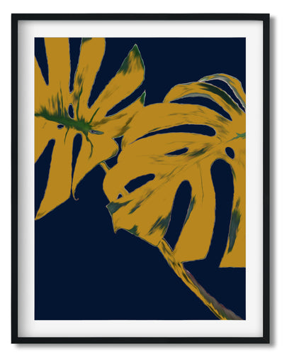 Wall Art -  Mustard Monstera Leaves On Navy - Framed / unframed art print (A-314)