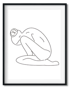 Wall Art - Minimalist Black&White Line drawing print - Framed / unframed art print (A-799)