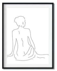 Wall Art - Minimalist Black&White Line drawing print - Framed / unframed art print (A-795)