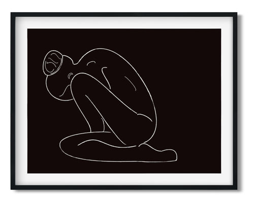 Wall Art -  Chalk Line Drawing On Black - Framed / unframed art print (A-723)
