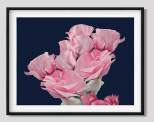 Wall Art -  Pink Roses Bunch on Navy Blue - Framed / unframed art print (A-675)