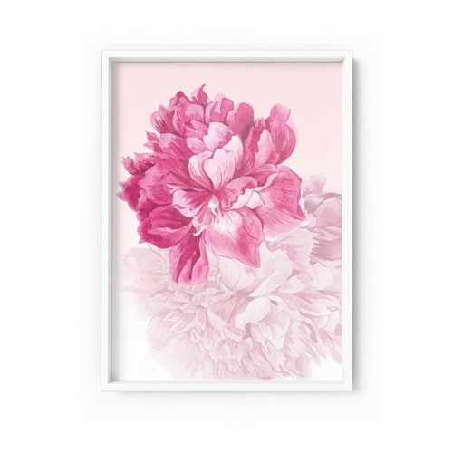 Wall art - Pink Floral Art Print on paper (Framed/ Unframed)- (A-553)
