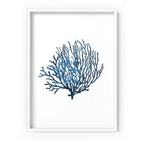 Wall art- Hamptons Watercolour Blue Coral  VI - Art Print/ Unframed Art print (A-848. CSH-16)