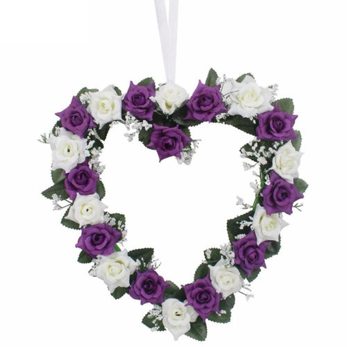 Decor - Heart Shaped Flowers Wreath / Garland  - Purple (D-100)