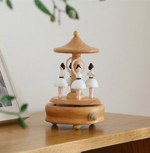 Wooden Ballerina Dancer Carousel Musical Box (D-105)