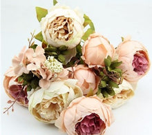 Decor - Peony Bouquet Silk Artificial Flowers - Peach (D-109)