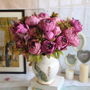 Decor - Peony  Bouquet Silk Artificial Flowers - Purple   (D-111)