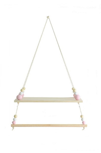 Decor - Double Wooden wall shelf - Pink  (D-115)