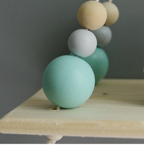 Decor - Double Wooden wall shelf - Turquoise  (D-114)
