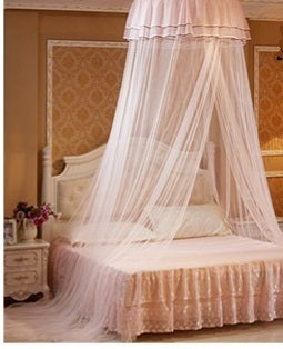 Decor - Princess Hanging Round Lace Canopy Bed  Mosquito Net - Peach (D-12.1)