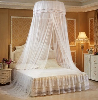 Decor -  Princess Hanging Round Lace Canopy Bed  Mosquito Net - White (D-12)