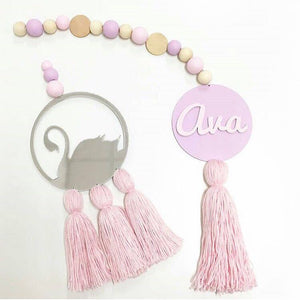 Decor - Wooden Beads & Tassel Swan Wall Decor-  Mirror (D-16.2)