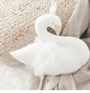 Gorgeous  Swan Decorative Cushion- White (D-38.1)