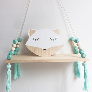 Decor - Wooden wall shelf Geo Beads-Turquoise (D-43.5)