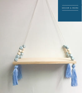 Decor - Wooden wall shelf Geo Beads- Blue (D-43.4)
