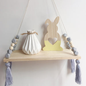 Decor - Wooden wall shelf Geo Beads- Grey (D-43.3)