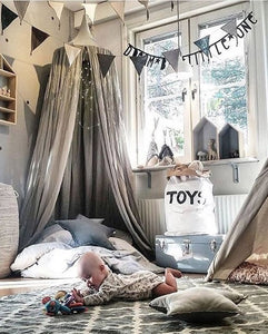 Cotton Bed Canopy - Grey (D-61)