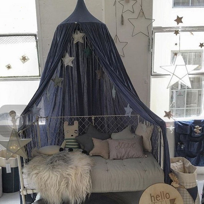 Cotton Bed Canopy - Blue (D-66)