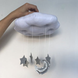 Decor -Cloud moon and star drops nursery mobile - White  (D-6.1)
