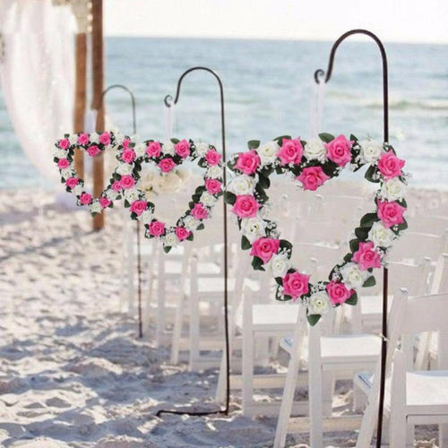 Decor - Heart Shaped Flowers Wreath / Garland  - Pink (D-98)