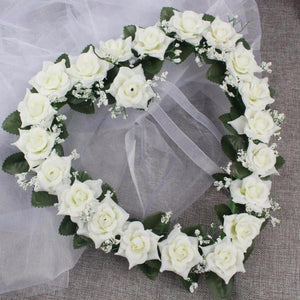 Decor - Heart Shaped Flowers Wreath / Garland  - White (D-99)