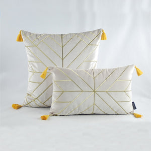 Geometric Embroidered Gold & Tassels  Velvet Cushion Cover - Beige (DC-188)