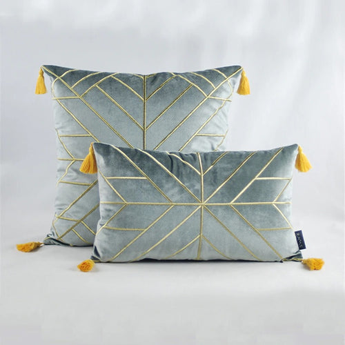 Geometric Embroidered Gold & Tassels  Velvet Cushion Cover - Gray (DC-189)