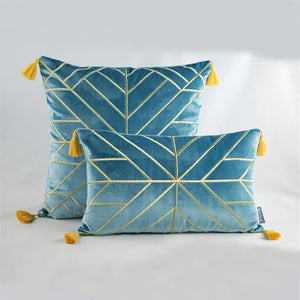 Geometric Embroidered Gold & Tassels  Velvet Cushion Cover - Blue (DC-190)
